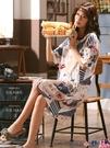 熱賣睡裙 性感睡裙女夏季純棉薄款短袖睡衣裙子可愛日系學生韓版全棉中長款 coco