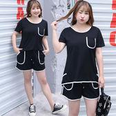 中大尺碼~時尚短袖上衣短褲運動套裝(XL~4XL)
