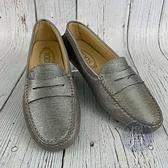 BRAND楓月 TOD'S 銀色豆豆鞋 #36.5 包鞋 涼鞋 樂福鞋 船鞋 懶人鞋 駕車鞋 皮鞋 鞋子 皮質 亮面