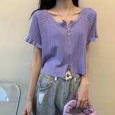 短袖針織上衣 寬鬆拉鏈bm風短款上衣女夏2020年新款薄款法式方領短袖冰絲針織衫 曼慕