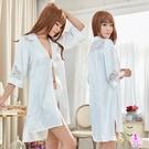 睡衣 性感睡衣 星光密碼【M039】 純白長版七分袖外罩衫二件式情趣性感睡衣