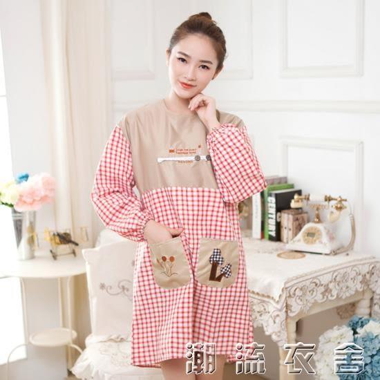 廚房大人做飯罩衣成人長袖 冬季女士圍裙一體式全罩身反穿衣全包  潮流衣舍