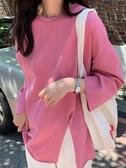 衛生衣 秋季2019新款寬鬆開叉港味純色長袖T恤女裝上衣韓版衛生衣外穿ins潮 果寶時尚