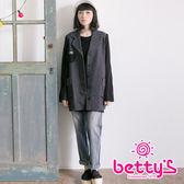 betty's貝蒂思 復古仿舊感針織拼接大衣(灰色)