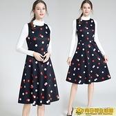 無袖洋裝 大碼女裝a字波點印花無袖台灣新款洋裝夏季背心氣質中長款春秋 向日葵