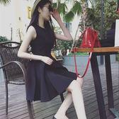 【全館八九折】春秋大碼赫本小黑裙修身A字打底裙高腰顯瘦無袖連衣裙蓬蓬背心裙