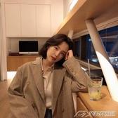 韓版新款復古寬鬆中長款格子小西裝外套chic西服上衣女裝   潮流時