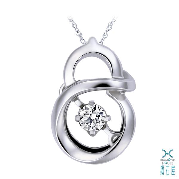 ﹝鑽石屋﹞9分鑽石套鍊 白K金葫蘆鑲鑽項鍊 複古流行飾品  DB034001