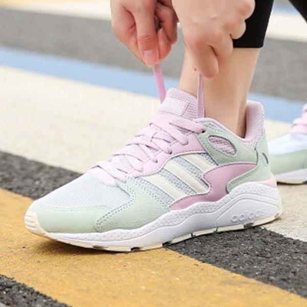 Adidas 新竹皇家 Chaos 粉色 麂皮 網布 拼接 軟墊 休閒運動鞋 女款 NO.I9706