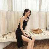 2018新款大露背性感開叉連衣裙黑色裙子打底裙百搭吊帶包臀中裙洋裝洋裝 喜迎中秋 優惠兩天