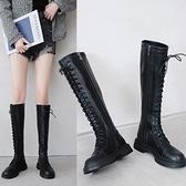 騎士靴女2021秋冬季新款加絨厚底高筒機車瘦瘦靴不過膝長筒靴子女 百分百