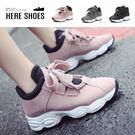 [Here Shoes]休閒鞋-復古洗色皮革 中性率性 鞋頭皮革拼接 休閒鞋 運動鞋 老爹鞋-KDWJ09