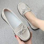 夏季透氣媽媽鞋涼鞋真皮女軟底防滑平底鏤空皮鞋中老年女式涼鞋