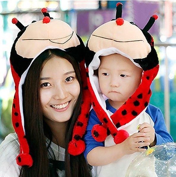可愛動物帽瓢蟲頭套 兒童大人成人造型帽 萬聖節聖誕節  角色扮演服裝