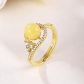 戒指 925純銀 琥珀-氣質迷人生日情人節禮物女開口戒73ga36【時尚巴黎】