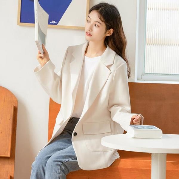 西裝外套 2021新款春秋寬鬆休閒西裝外套女英倫風西服百搭學生短外套