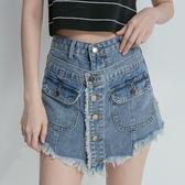 排釦假兩件式牛仔褲裙【AD050929D1】THEGIRLWHO那女孩