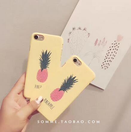 【SZ14】iphone 7 plus手機殼 韓風夏日鳳梨 磨砂 硬殼 保護套iphone 6s plus手機殼