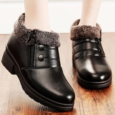 冬季棉鞋媽媽鞋加絨保暖平底防滑皮鞋短靴中老年人女鞋軟底雪地靴