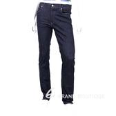 TRUSSARDI 深藍色烙印T LOGO飾釦牛仔褲 1540372-34
