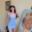 辣妹連衣裙 女方領修身收腰包臀洋裝 內搭打底短裙2021春季新款氣質背帶裙子