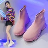 襪靴 飛織網鞋女2021新款夏季透氣網面白色百搭ins潮超火厚底增高襪鞋 快速出貨