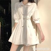 法式復古設計感小眾白色a字洋裝女收腰綁帶溫柔超仙初戀襯衫裙 聖誕節全館免運