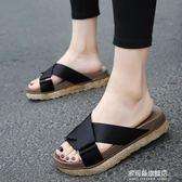韓版新款休閒拖鞋女夏外穿時尚涼拖中跟厚底室外松糕鞋沙灘鞋 多莉絲旗艦店