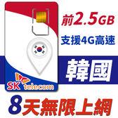 【TPHONE上網專家】韓國 8天無限上網卡 前2.5GB高速 支援4G 使用SK最大電信 隨插即用