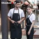 掛脖式圍裙 韓版時尚咖啡店服務員男女款掛脖圍裙工作服掛脖圍裙 降價兩天