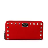 【MICHAEL KORS】皮革拼鉚釘ㄇ型拉鏈長夾(銀字)(紅色)35T7STTZ1L RED