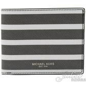 茱麗葉精品【全新現貨】MICHAEL KORS KENT 經典條紋六卡雙折短夾.灰白