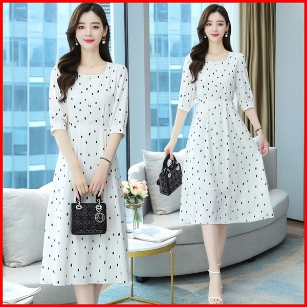 韓國風短袖洋裝 波點雪紡連衣裙 收腰顯瘦五分袖氣質女神連身裙 依多多