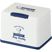 小禮堂 史努比 方形塑膠按壓彈蓋面紙盒 抽取式紙巾盒 濕巾盒 收納盒 (藍白 側站) 4973307-50282
