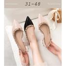 大尺碼女鞋小尺碼女鞋尖頭漆皮鉚釘平底涼鞋...