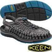KEEN 1014974深灰/藍 Uneek 男專業戶外護趾編織涼鞋/水陸兩用繩編鞋
