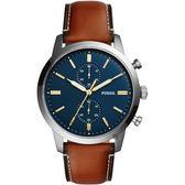FOSSIL Townsman 城區計時手錶-藍x咖啡/44mm FS5279
