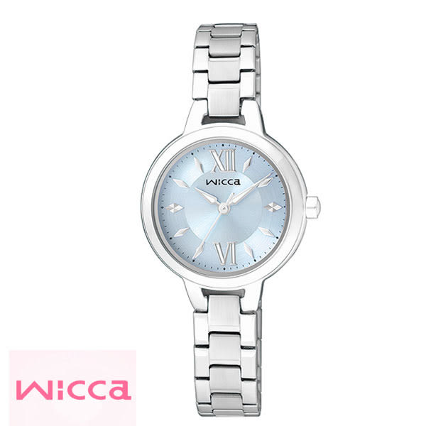 WICCA CITIZEN星辰副牌 簡單三針水藍色羅馬字鋼帶女錶 26mm BG3-716-71 公司貨 | 名人鐘錶