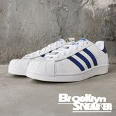 ADIDAS Original Superstar 白 金屬藍 情侶鞋 金標 男女 (布魯克林)  D98000