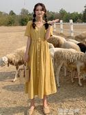 夏季韓版清新格子短袖洋裝女新款法式小眾裙子學生過膝長裙 海角七號