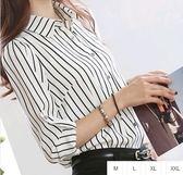 EASON SHOP(GU0901)直條紋襯衫領長袖白襯衫M-2XL黑條紋職業OL女襯衫衣雪紡襯衫女修身