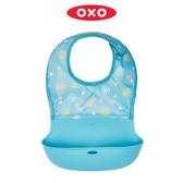 美國【OXO】tot可收捲防碎屑圍兜/防水圍兜/防漏接圍兜-水藍花紋(造型藍)(新款)