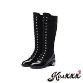 時尚英倫風金屬排飾異材質拼接中筒靴 黑 *KissXXX*