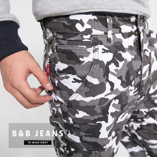 工作褲-雪地迷彩多口袋造型牛仔褲