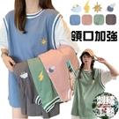 EASON SHOP(GQ0108)實拍韓版假兩件卡通天氣塗鴉落肩寬鬆圓領短袖素色棉T恤裙女上衣服打底內搭衫寬版