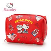 日本限定 三麗鷗 HELLO KITTY 凱蒂貓 糖果甜點版  收納包 / 化妝包  M