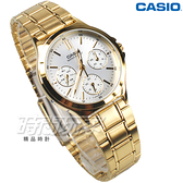 CASIO卡西歐 LTP-V300G-7A 經典三眼多功能錶 石英女錶 防水手錶 學生錶 金色x白 LTP-V300G-7AUDF