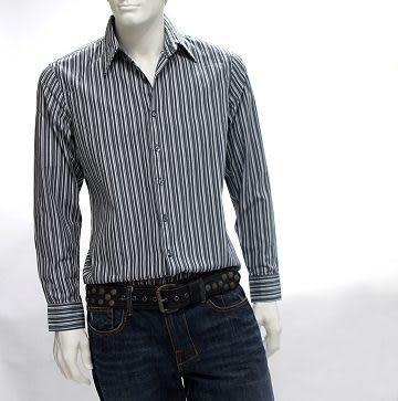『摩達客』美國進口 【Solis】Premium Woven Collection灰色直紋長袖休閒襯衫(1028019003)