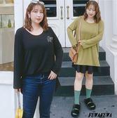 (現貨+預購 FUWAFUWA)-加大尺碼小恐龍刺繡針織長版長袖T恤
