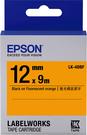LK-4DBF EPSON 標籤帶(橘底黑字/12mm) C53S654416